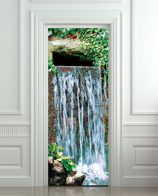 Door sticker waterfall landscape cataract water mural for Door mural stickers