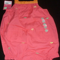 Pink Romper with Orange Ties-NEW-Carters Size 18 Months