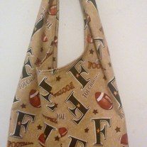 Handmade Tote Tie Bag - Football Prints