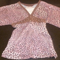 Pink/Brown Leopard Shirt with Rhinestones-Knit Werks Size 6X