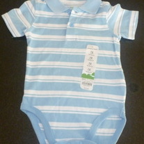 Blue/White Striped Onesie-NEW-Jumping Beans Size 12 Months
