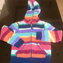Multi Stripe Fleece Zip Up Jacket-Old Navy Size 5