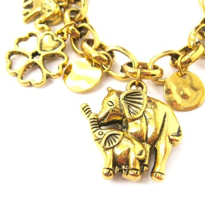 Elephant Mother and Baby Shaped Charm Bracelet in Gold | Animal Jewelry