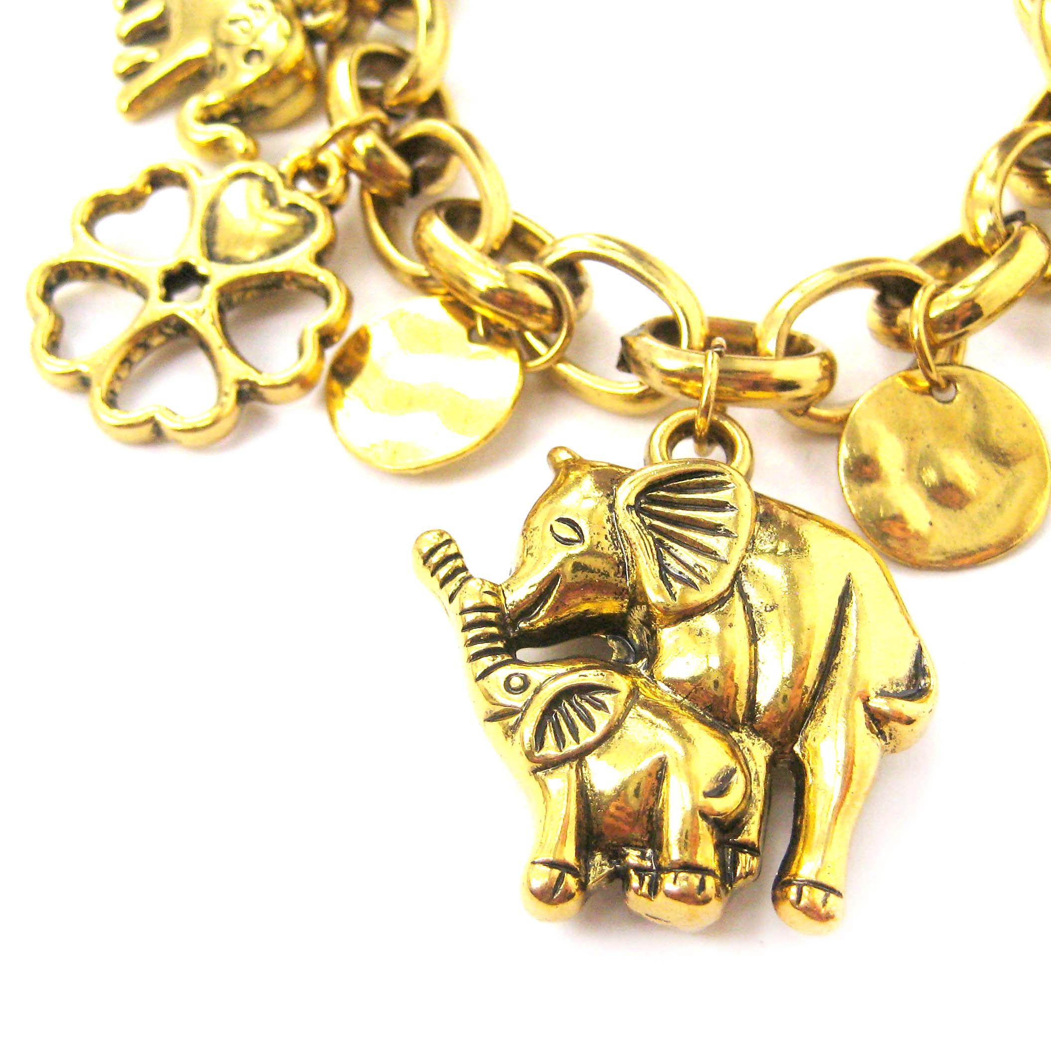 elephant mother and baby shaped charm bracelet in gold