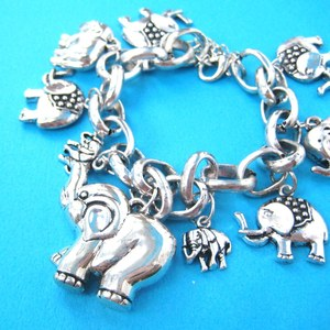Multiple Elephant Shaped Charms Bracelet in Silver | Animal Jewelry