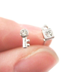 Super Tiny Lock and Key Shaped Rhinestones Stud Earrings in Silver