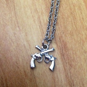Crossed Pistol Necklace