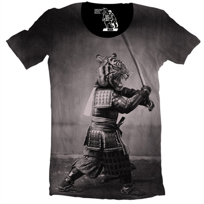 Samurai tiger men's tee