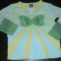 Green/Blue LS Shirt with Butterfly-Gap XS/4