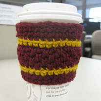 Maroon and Gold Coffee Cup Cozy