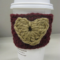 Maroon and Tan Heart Coffee Cup Cozy