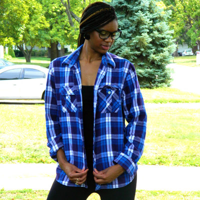 Boyfriend blue and white plaid shirt
