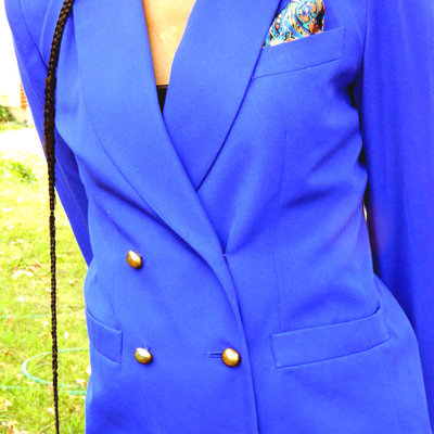 Royal blue blazer with fashion handkerchief