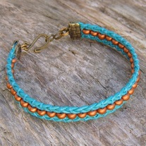 Turquoise Leather Beaded Cuff Bracelet
