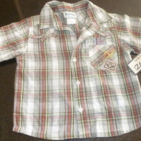 Green Plaid Shirt-NEW-Boyz Wear-Size 24 Months