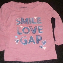 Pink Shirt-Smile Love Gap-Baby Gap Size 12-18 Months
