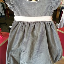 Biscotti By Kate Mack Silver Dress w/Pink Bow