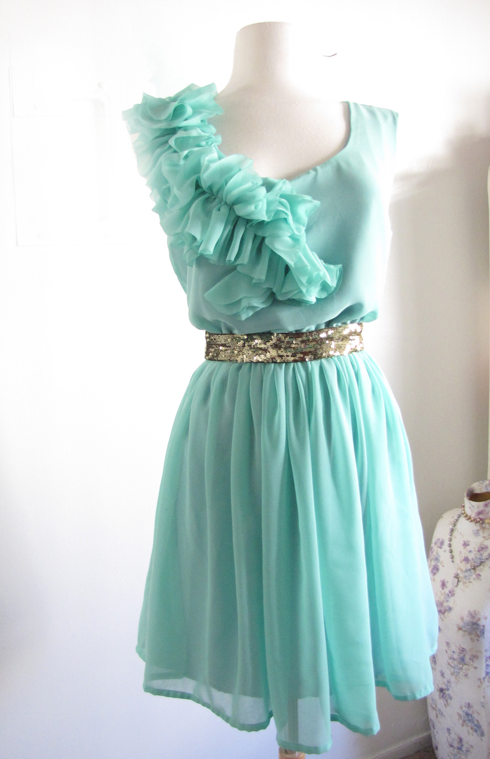Mint Blue Green Spring Wedding Ruffles and Bridesmaid Dress ...