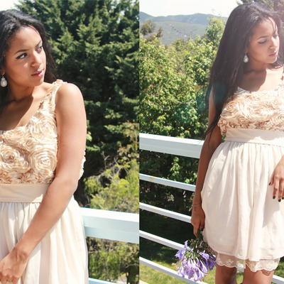 Custom order:neutral nude mismatch bridesmaid dress with romantic lace trip and floral embellishment