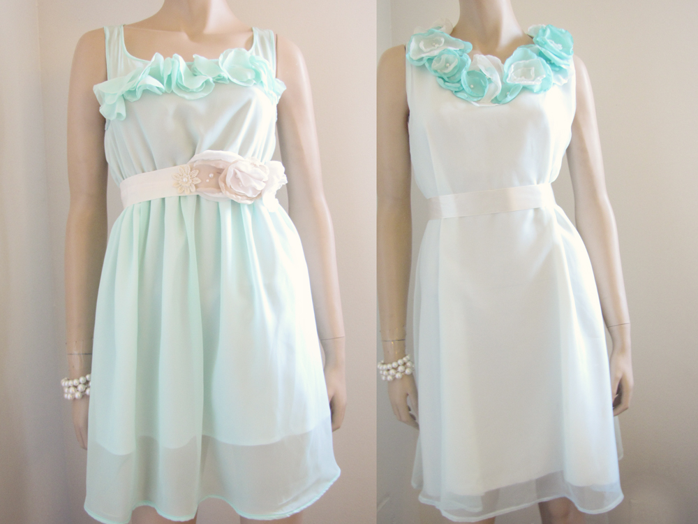 Pastel mint green and petal country chic bridesmaid dress for Pastel green wedding dress