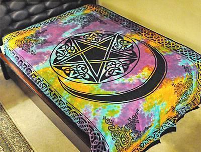 Pentacle PENTAGRAM   Moon Tie Dye WICCA Pagan Celtic Tapestry Bedspread 72. Pentacle PENTAGRAM   Moon Tie Dye WICCA Pagan Celtic Tapestry
