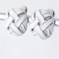 Knotted 80s Inspired White Clip-On Earrings