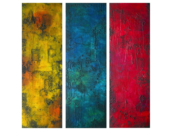 Textured Series Colorful Abstract Art Original Textured Mixed Media