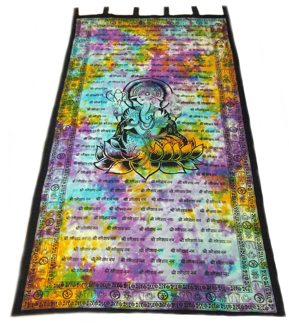 Indian Tapestry Wall Hanging lord ganesh ganesha hindu tie dye indian tapestry wall hang door