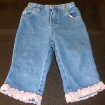 Denim Jeans with Pink Ruffle-Osh Kosh Size 3/3T