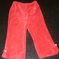 Red Ribbed Velour Pants-The Children's Place Size 24 Months