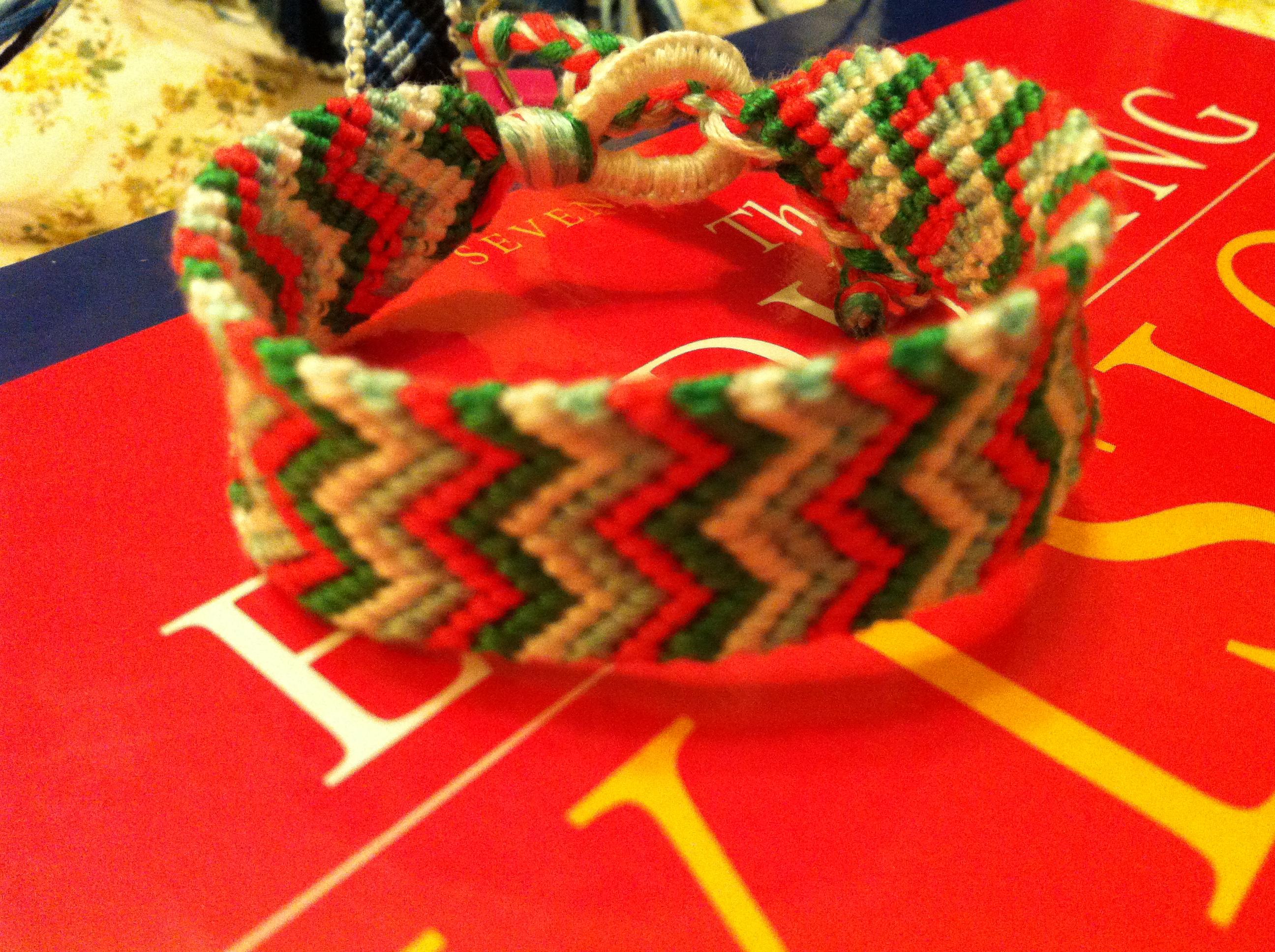 Chevron bracelet - Green White Blue And Coral Double Chevron Friendship Bracelet