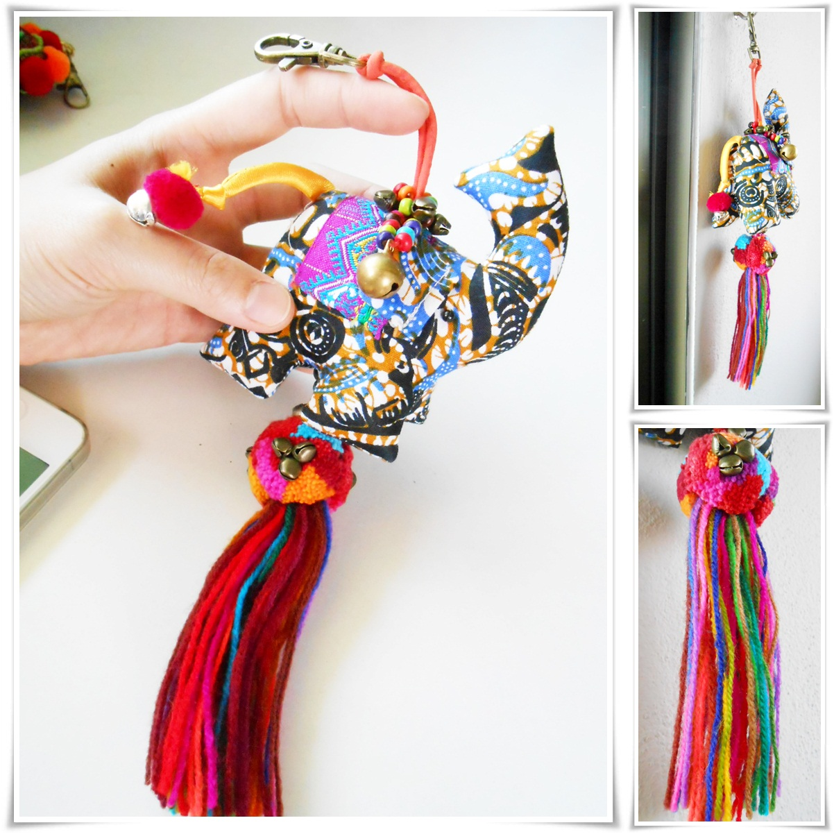Hippie Elephant Doll Keychain With Colorful Pom Poms And Tassel Bag