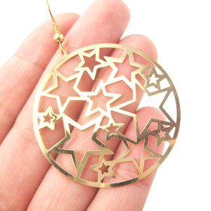 Star Outline Cut Out Round Space Dangle Earrings in Gold
