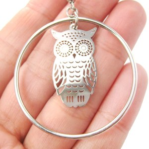 Owl Shaped Silhouette Filigree Dangle Hoop Earrings in Silver