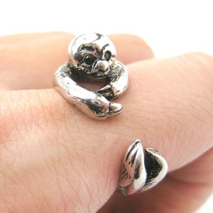 3D Sloth Animal Hug Wrap Ring in Shiny Silver | Sizes 5 to 9