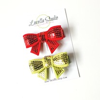 Red and lime sequin bow hairclips