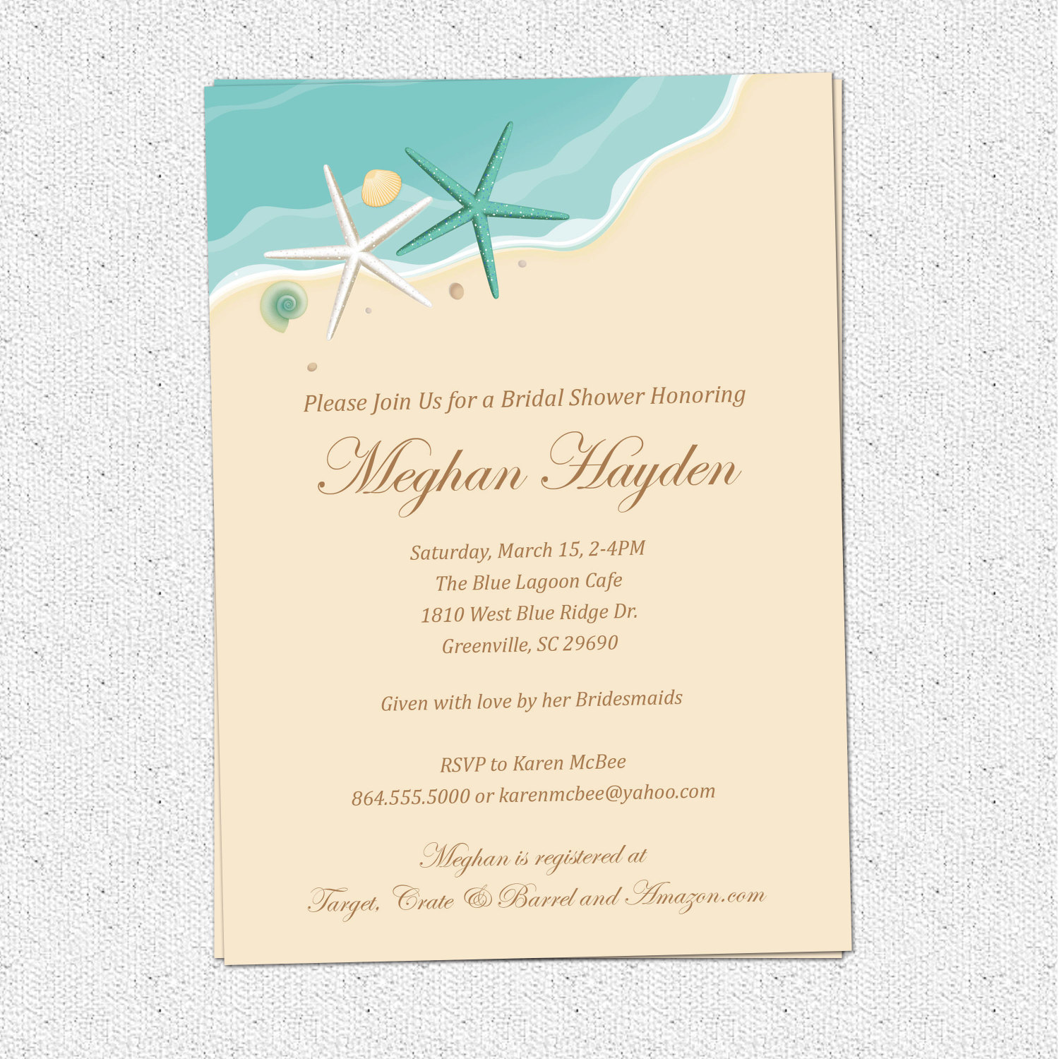 beach invitations bridal shower birthday sand sea surf starfish