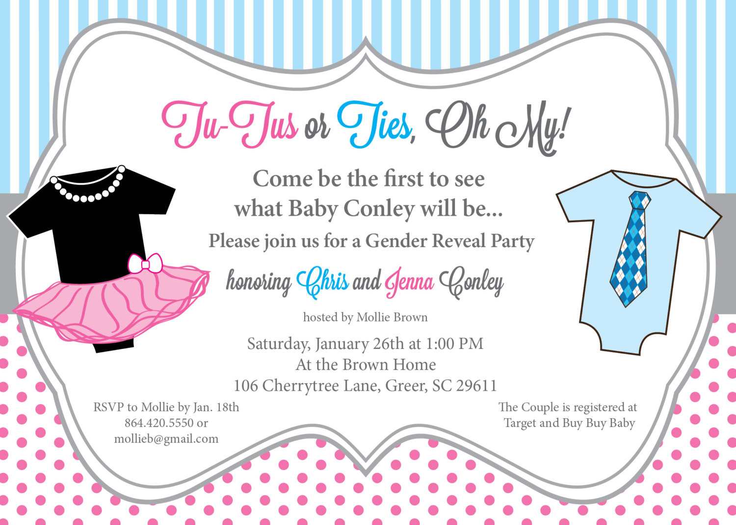 TuTus Or Ties, Gender Reveal Baby Shower Party Invitations, Pink And Blue,  One