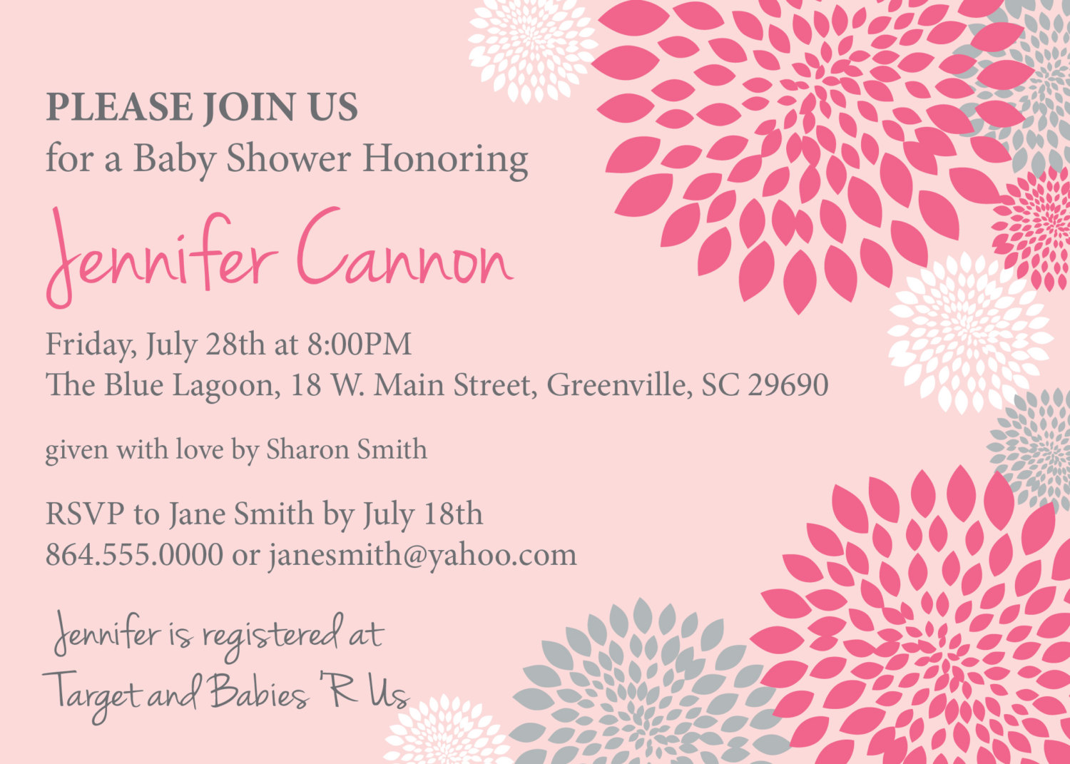 baby shower invitations girl white hot and pale pink