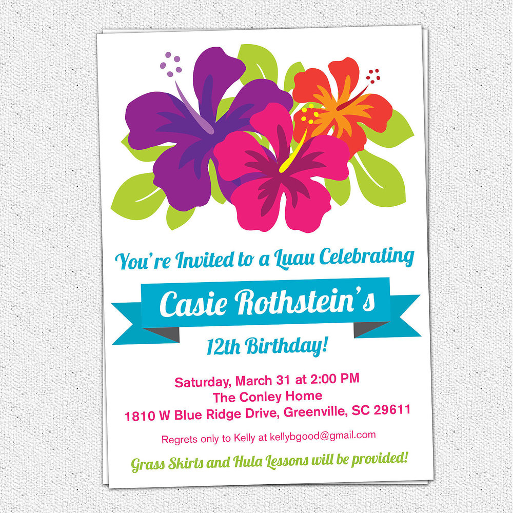 Luau Birthday Invitations Summer Party Hibiscus Flowers – Tropical Birthday Invitations