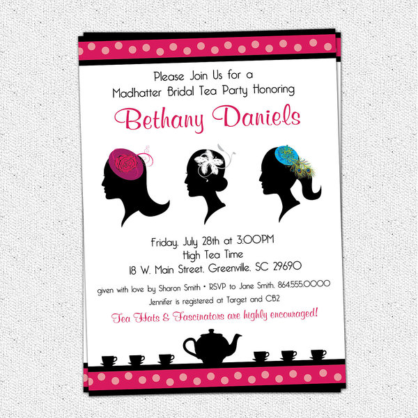 Madhatter Mad Hatter Tea Party Invitations Fascinator Hats – Bridal Shower Tea Party Invites
