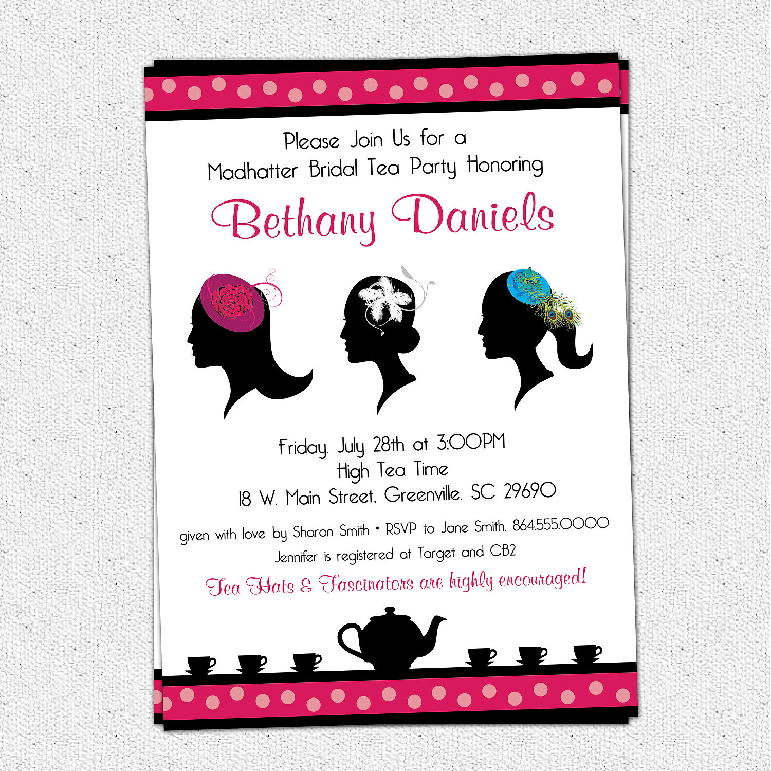 Madhatter Mad Hatter Tea Party Invitations Fascinator Hats Royalty Bridal Shower Baby