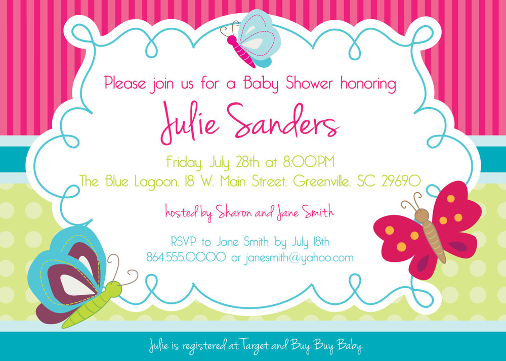 butterfly baby shower invitations, butterflies, spring, gender, Baby shower invitations
