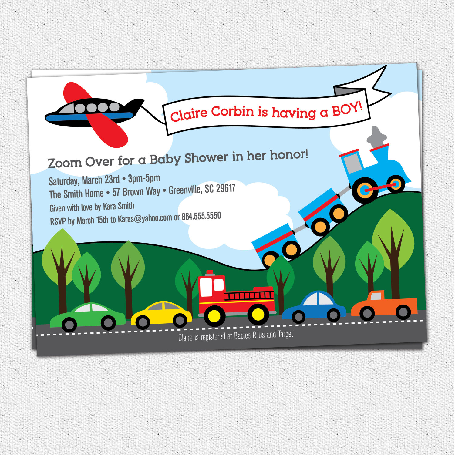 Transportation baby shower invitations boy train plane transportation baby shower invitations boy train plane automobiles cars firetruck filmwisefo