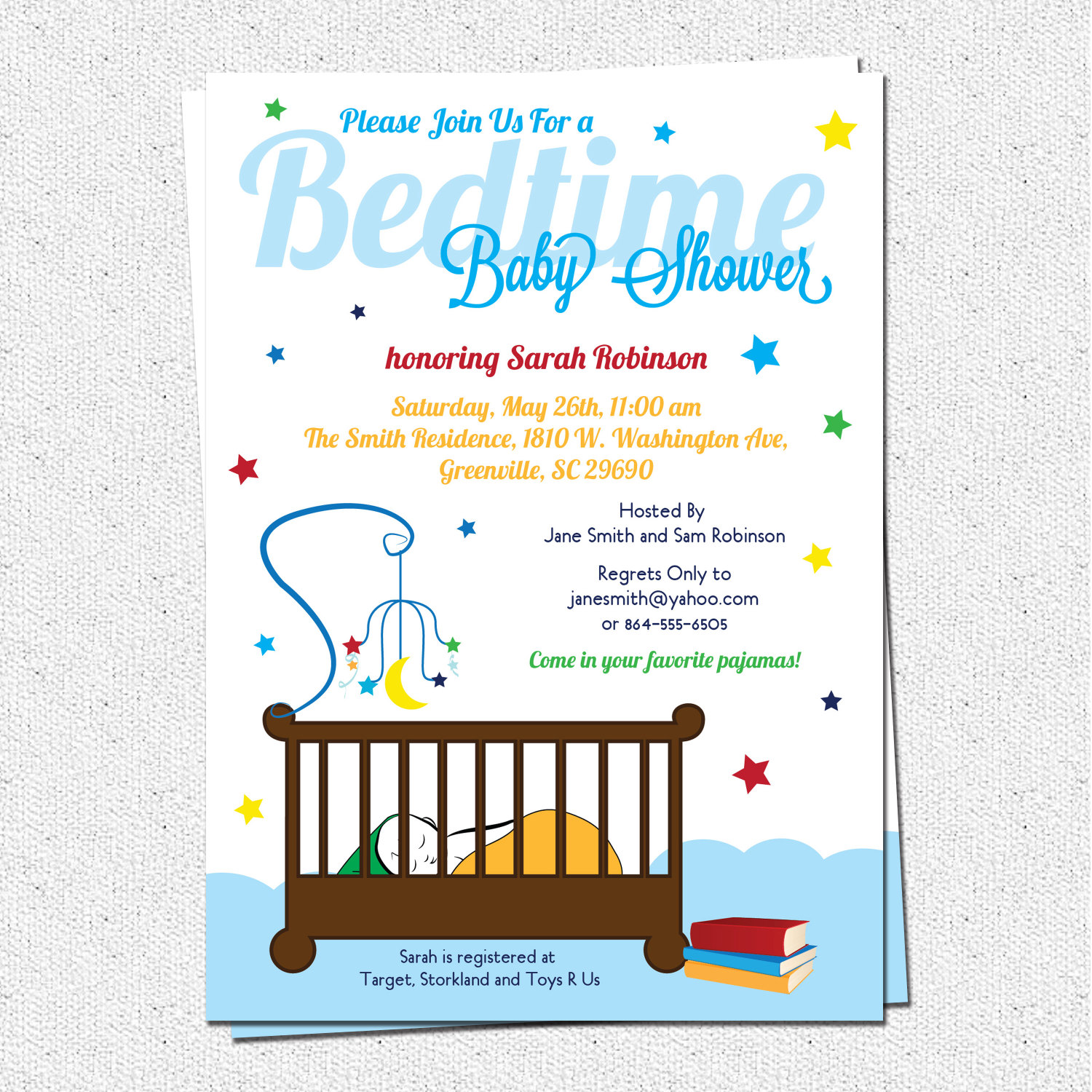 Bedtime Stories Baby Shower Invitations, Story Book Theme, Crib, Night,  Stars,