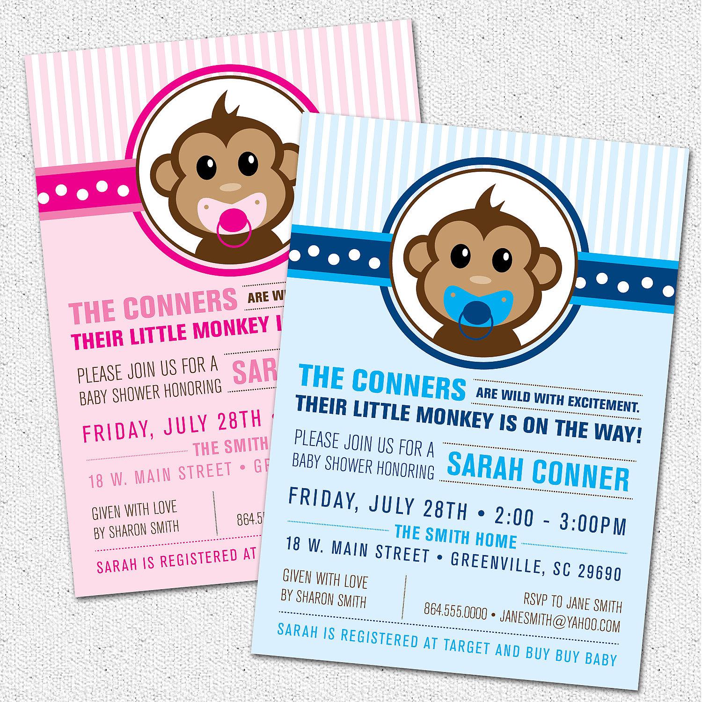 Little monkey baby shower invitations modern preppy boy or girl little monkey baby shower invitations modern preppy boy or girl blue or pink filmwisefo