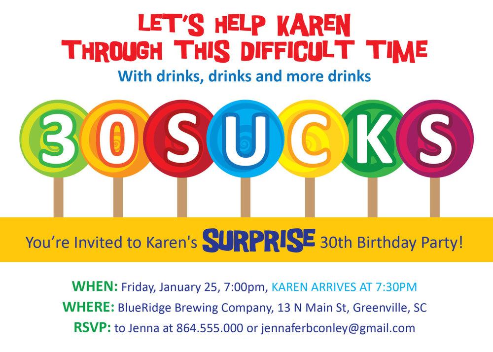 30 Sucks Birthday Party Invitations Suckers Lollipops Blows – Funny Party Invite