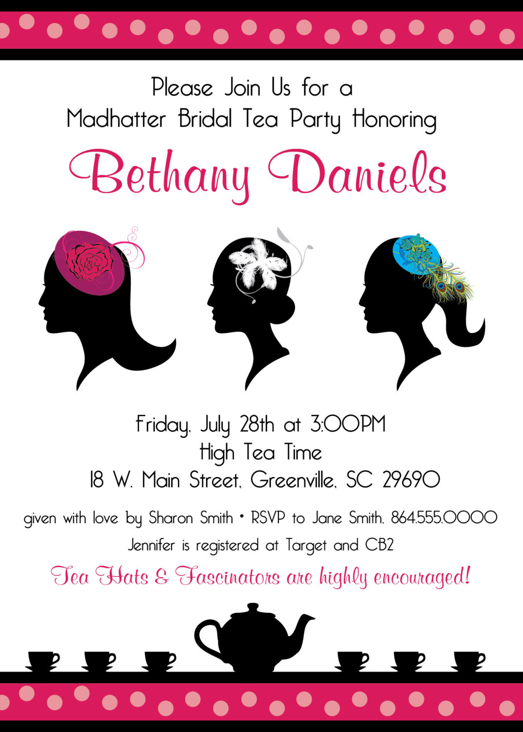 Madhatter Mad Hatter Tea Party Invitations Fascinator Hats – Ladies Tea Party Invitations
