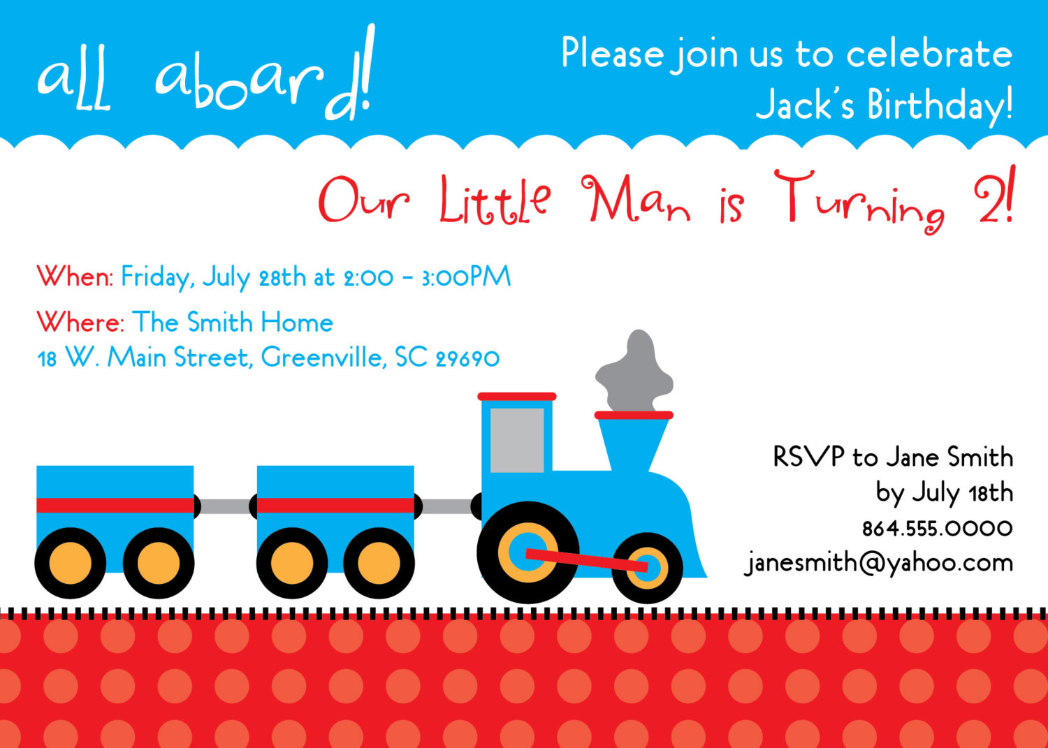 Train Birthday Invitation Choo Choo Party SET OF - Party invitation template: train party invitations templates