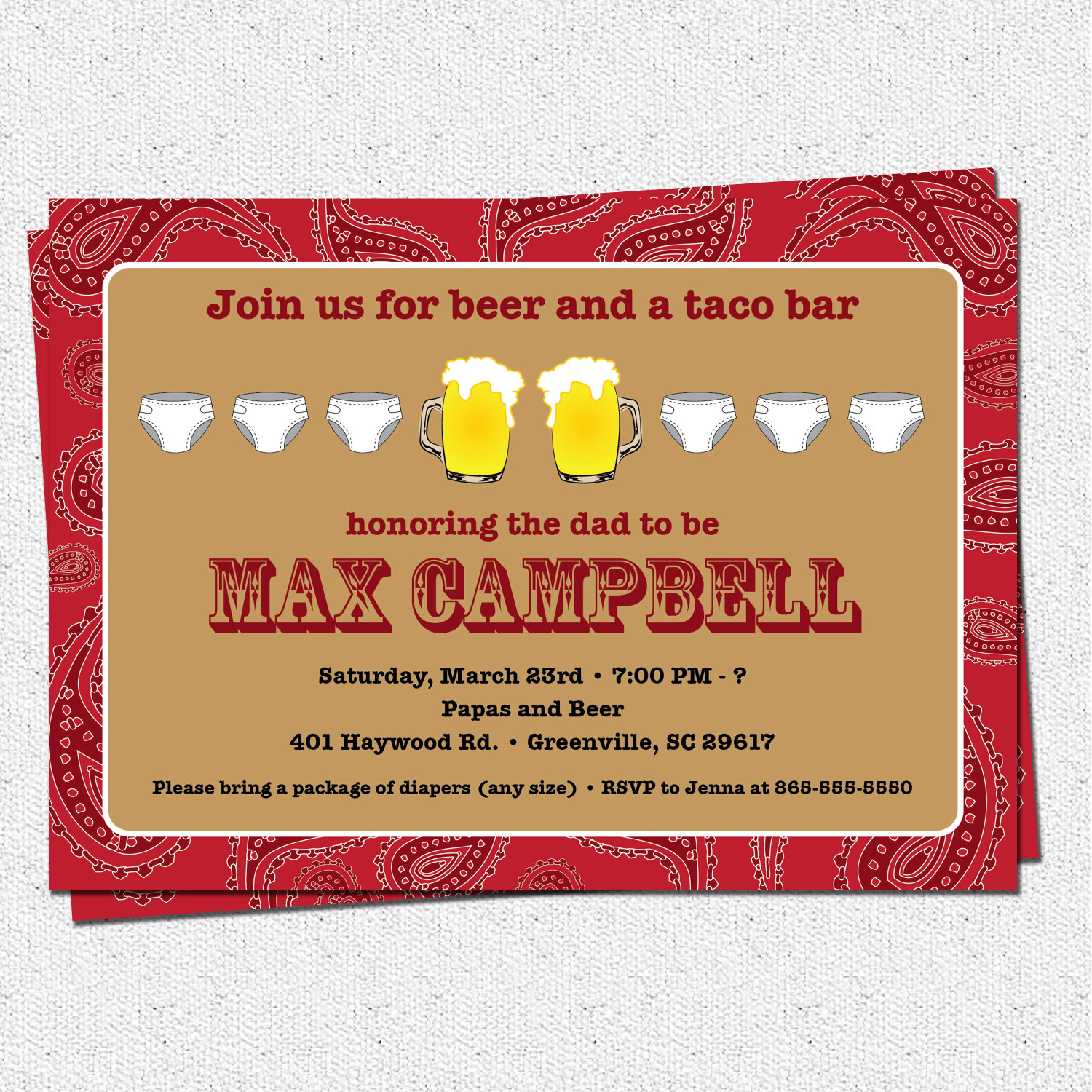 Beer and Diaper Party Invitations Men Western Paisley Baby